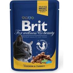Паучи Brit Premium Cat Chicken & Turkey с курицей и индейкой для кошек 100г (100308) Brit*