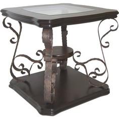 Стол журнальный Мебелик Лючия 2102 темно-коричневый/ прозрачное