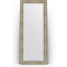 Зеркало пристенное напольное с фацетом Evoform Exclusive Floor 85x205 см, в багетной раме - барокко серебро 106 мм (BY 6134)