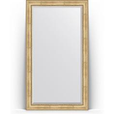 Зеркало пристенное напольное с фацетом Evoform Exclusive Floor 117x207 см, в багетной раме - состаренное серебро с орнаментом 120 мм (BY 6178)