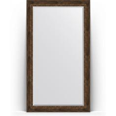 Зеркало пристенное напольное с фацетом Evoform Exclusive Floor 117x207 см, в багетной раме - состаренное дерево с орнаментом 120 мм (BY 6180)