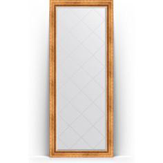 Зеркало пристенное напольное с гравировкой Evoform Exclusive-G Floor 81x201 см, в багетной раме - римское золото 88 мм (BY 6317)