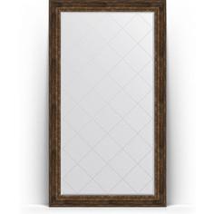 Зеркало пристенное напольное с гравировкой Evoform Exclusive-G Floor 117x207 см, в багетной раме - состаренное дерево с орнаментом 120 мм (BY 6380)
