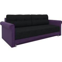 Диван-еврокнижка АртМебель Европа микровельвет черно-фиолетовый