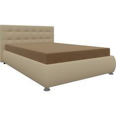 Кровать АртМебель Рио осн. микровельвет бежевый, комп.эко-кожа бежевый