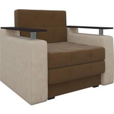 Кресло-кровать АртМебель Комфорт микровельвет коричнево-бежевый