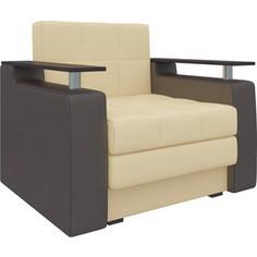 Кресло-кровать АртМебель Комфорт эко-кожа бежево-коричневый