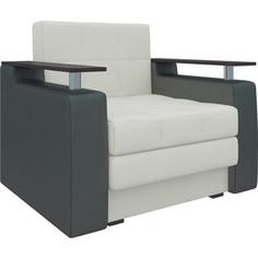 Кресло-кровать АртМебель Комфорт эко-кожа бело-черный