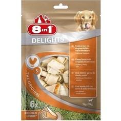 Лакомство 8in1 DELIGHTS S Chicken косточка 11см с курицей для собак мелких и средних пород (6шт)