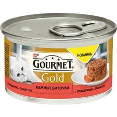 Консервы Gourmet Gold нежные биточки с говядиной и томатом для кошек 85г (12296420)