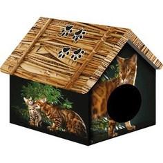 Домик PerseiLine Дизайн Бенгальский кот для кошек 33*33*40 см (31130/ДМД-1)