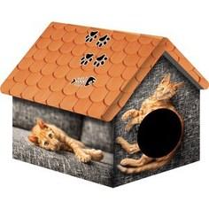 Домик PerseiLine Дизайн Рыжий кот для кошек 33*33*40 см (00124/ДМД-1)
