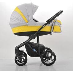 Коляска Mr Sandman Vector Premium (2 в 1) 50% кожа Жёлтый Перфорированный - Светло-Серый (KMSVP50-0713CH08)