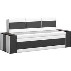 Кухонный диван АртМебель Лина эко-кожа (бело\черный)