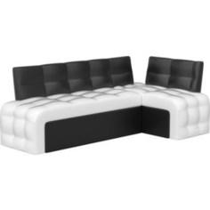 Кухонный угловой диван АртМебель Люксор эко-кожа (бело\черный) угол правый