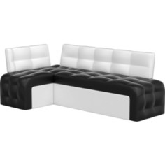 Кухонный угловой диван АртМебель Люксор эко-кожа (черно\белый) угол левый