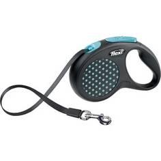 Рулетка Flexi Design S лента 5м черная/голубой горошек для собак до 15кг