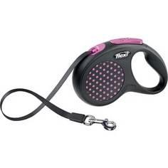 Рулетка Flexi Design S лента 5м черная/розовый горошек для собак до 15кг