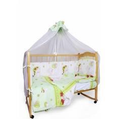 Комплект детского постельного белья AmaroBaby 7-ми предметный Мишкин сон, поплин, зеленый