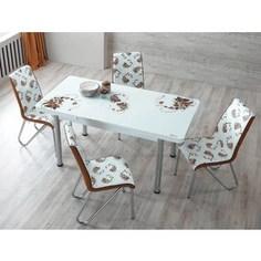 Комплект кухонный AlwaysSTAR Стол M28 brown, 4 стула S28 brown
