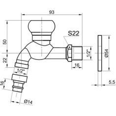 Кран сливной для бани Bronze De Luxe насадка для шланга бронза (21982/2)