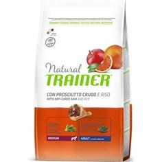 Сухой корм Trainer Natural Medium Adult with Dry-Cured Ham and Rice с сыровяленой ветчиной и рисом для взрослых собак средних пород 3кг