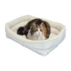 Лежанка Midwest Quiet Time Deluxe Fleece Double Bolster Bed 18 флисовая с двойным бортом 43х28 см белая для кошек и собак