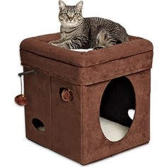 Домик Midwest Curious Cat Cat Cube- Brown Suede складной с лежанкой для кошек 38,4x38,4x42h см