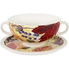 Суповая чашка на блюдце Imari Кленовый лист (IMB0304A-A2351)