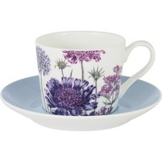Чашка с блюдцем Anna Lafarg Stechcol Лаура голубая (AL-17821F-BLU-TCS-ST)