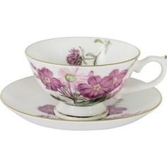 Чашка с блюдцем Anna Lafarg Stechcol Лаура розовые цветы (AL-17821-D-TCS-ST)