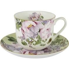 Чашка с блюдцем Anna Lafarg Stechcol Райский сад жёлтая (AL-17815-YEL-BCS-ST)