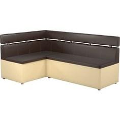 Кухонный угловой диван АртМебель Классик эко-кожа коричнево/бежевый левый