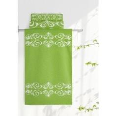 Полотенце Aquarelle Шарлиз, белый-травяной 70x140 (705995)