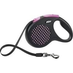 Рулетка Flexi Design M лента 5м черная/розовый горох для собак до 25кг