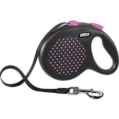 Рулетка Flexi Design L лента 5м черная/розовый горох для собак до 50кг