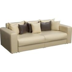 Диван-еврокнижка АртМебель Медисон эко-кожа бежевый подушки коричневые
