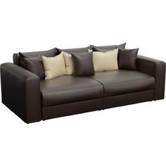 Диван-еврокнижка АртМебель Медисон эко-кожа коричневый подушки бежевые