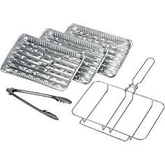 Комплект Forester одноразовых решеток-гриль рамка 3 алюминиевых сменных лотка щипцы BQ-L1