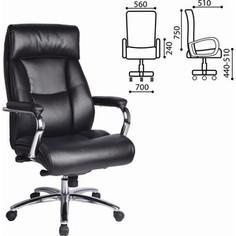 Кресло офисное Brabix Phaeton EX-502 натуральная кожа хром черное 530882