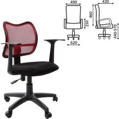 Кресло оператора Brabix Drive MG-350 с подлокотниками черное/бордовое TW 531393