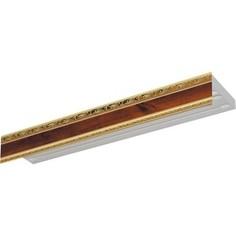 Карниз потолочный пластиковый DDA Прямой Гранд двухрядный орех 3.8
