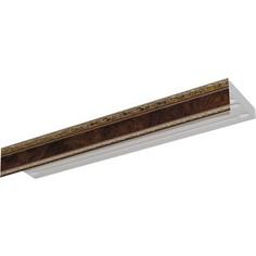 Карниз потолочный пластиковый DDA Прямой Гранд трехрядный карельская берёза 2.4
