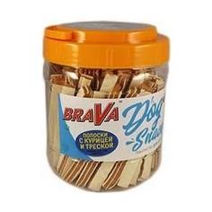 Лакомство BraVa Dog Snacks полоски с курицей и треской для собак 750 г (110701)