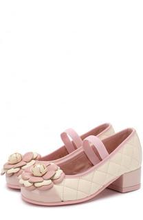 Кожаные туфли с цветочной аппликацией и прострочкой Pretty Ballerinas