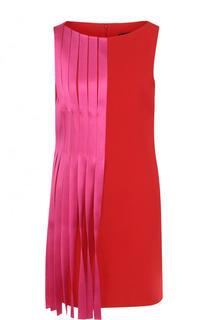 Мини-платье из вискозы с контрастной отделкой Versace
