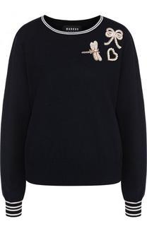 Шерстяной пуловер с круглым вырезом и контрастной отделкой Markus Lupfer