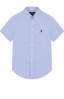 Хлопковая рубашка с воротником button down и коротким рукавом Polo Ralph Lauren