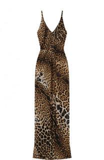 Приталенное шелковое платье-макси с леопардовым принтом Saint Laurent