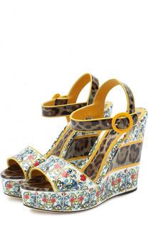Кожаные босоножки Bianca с принтом на танкетке Dolce & Gabbana